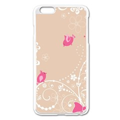 Flower Bird Love Pink Heart Valentine Animals Star Apple Iphone 6 Plus/6s Plus Enamel White Case by Mariart