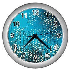 Flower Back Leaf River Blue Star Wall Clocks (silver)  by Mariart