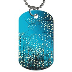 Flower Back Leaf River Blue Star Dog Tag (two Sides) by Mariart