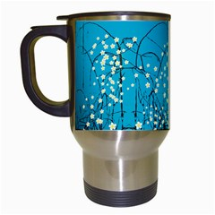 Flower Back Leaf River Blue Star Travel Mugs (white) by Mariart