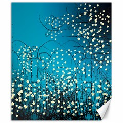 Flower Back Leaf River Blue Star Canvas 20  X 24   by Mariart