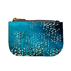 Flower Back Leaf River Blue Star Mini Coin Purses by Mariart