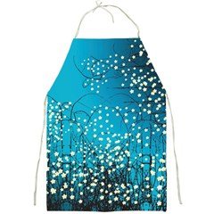 Flower Back Leaf River Blue Star Full Print Aprons by Mariart