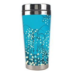 Flower Back Leaf River Blue Star Stainless Steel Travel Tumblers by Mariart