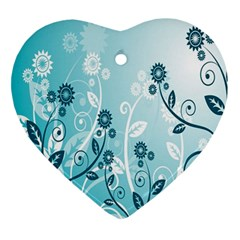 Flower Blue River Star Sunflower Ornament (heart)