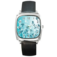 Flower Blue River Star Sunflower Square Metal Watch by Mariart
