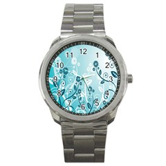 Flower Blue River Star Sunflower Sport Metal Watch by Mariart