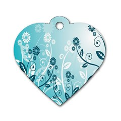 Flower Blue River Star Sunflower Dog Tag Heart (one Side) by Mariart