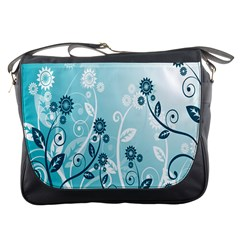 Flower Blue River Star Sunflower Messenger Bags by Mariart