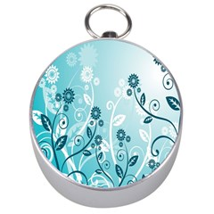 Flower Blue River Star Sunflower Silver Compasses by Mariart