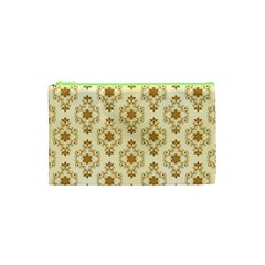 Flower Brown Star Rose Cosmetic Bag (xs) by Mariart