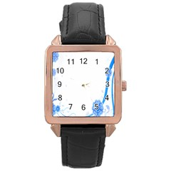 Flower Blue Sunflower Star Sexy Rose Gold Leather Watch  by Mariart