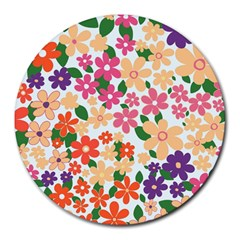 Flower Floral Rainbow Rose Round Mousepads by Mariart