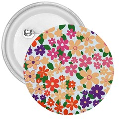 Flower Floral Rainbow Rose 3  Buttons by Mariart