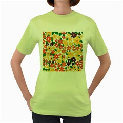 Flower Floral Rainbow Rose Women s Green T Shirt