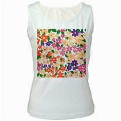 Flower Floral Rainbow Rose Women s White Tank Top