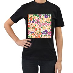 Flower Floral Rainbow Rose Women s T-shirt (black) (two Sided)