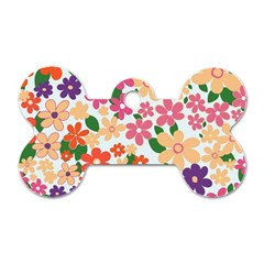 Flower Floral Rainbow Rose Dog Tag Bone (one Side) by Mariart