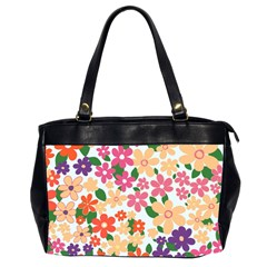 Flower Floral Rainbow Rose Office Handbags (2 Sides)  by Mariart