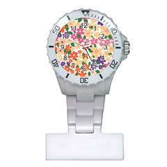 Flower Floral Rainbow Rose Plastic Nurses Watch by Mariart