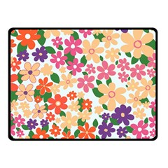 Flower Floral Rainbow Rose Double Sided Fleece Blanket (small)