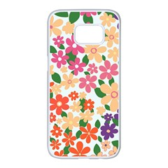 Flower Floral Rainbow Rose Samsung Galaxy S7 Edge White Seamless Case by Mariart