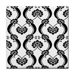 Flower Floral Black Sexy Star Black Tile Coasters by Mariart