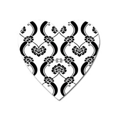 Flower Floral Black Sexy Star Black Heart Magnet by Mariart