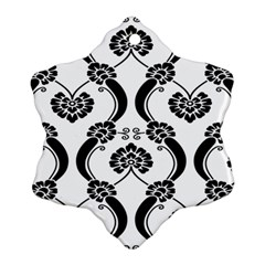 Flower Floral Black Sexy Star Black Ornament (snowflake)