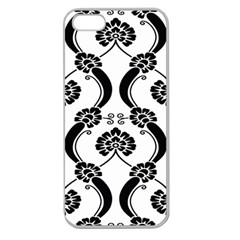 Flower Floral Black Sexy Star Black Apple Seamless Iphone 5 Case (clear) by Mariart