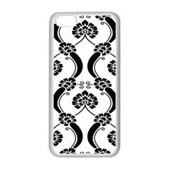 Flower Floral Black Sexy Star Black Apple Iphone 5c Seamless Case (white) by Mariart