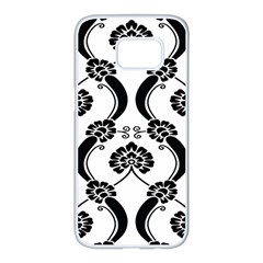 Flower Floral Black Sexy Star Black Samsung Galaxy S7 Edge White Seamless Case by Mariart