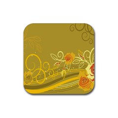 Flower Floral Yellow Sunflower Star Leaf Line Gold Rubber Square Coaster (4 Pack)  by Mariart