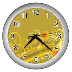 Flower Floral Yellow Sunflower Star Leaf Line Gold Wall Clocks (silver)  by Mariart
