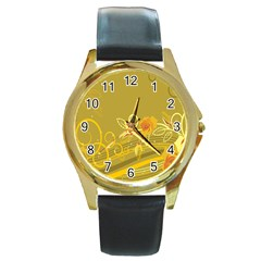 Flower Floral Yellow Sunflower Star Leaf Line Gold Round Gold Metal Watch by Mariart