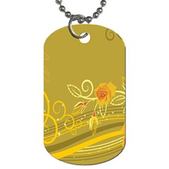 Flower Floral Yellow Sunflower Star Leaf Line Gold Dog Tag (two Sides) by Mariart