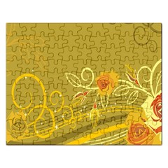 Flower Floral Yellow Sunflower Star Leaf Line Gold Rectangular Jigsaw Puzzl by Mariart