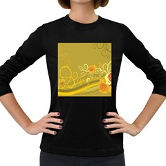 Flower Floral Yellow Sunflower Star Leaf Line Gold Women s Long Sleeve Dark T Shirts