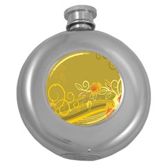 Flower Floral Yellow Sunflower Star Leaf Line Gold Round Hip Flask (5 Oz) by Mariart