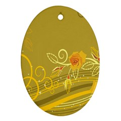 Flower Floral Yellow Sunflower Star Leaf Line Gold Oval Ornament (two Sides) by Mariart