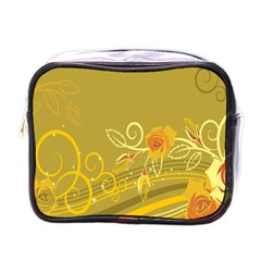 Flower Floral Yellow Sunflower Star Leaf Line Gold Mini Toiletries Bags by Mariart
