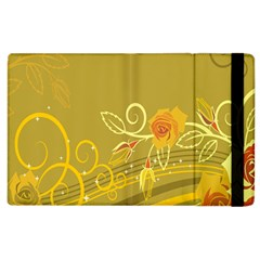 Flower Floral Yellow Sunflower Star Leaf Line Gold Apple Ipad 3/4 Flip Case by Mariart