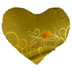 Flower Floral Yellow Sunflower Star Leaf Line Gold Large 19  Premium Flano Heart Shape Cushions by Mariart