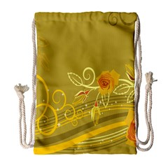 Flower Floral Yellow Sunflower Star Leaf Line Gold Drawstring Bag (large) by Mariart