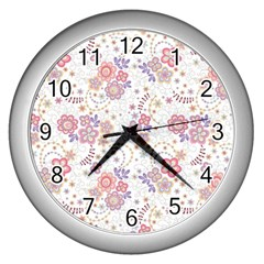 Flower Floral Sunflower Rose Purple Red Star Wall Clocks (silver)