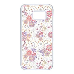 Flower Floral Sunflower Rose Purple Red Star Samsung Galaxy S7 White Seamless Case by Mariart