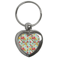 Flower Fruit Star Polka Rainbow Rose Key Chains (heart)  by Mariart
