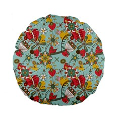 Flower Fruit Star Polka Rainbow Rose Standard 15  Premium Flano Round Cushions by Mariart