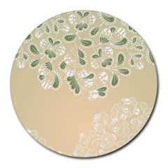 Flower Frame Green Sexy Round Mousepads by Mariart