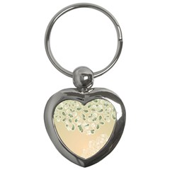 Flower Frame Green Sexy Key Chains (heart)  by Mariart